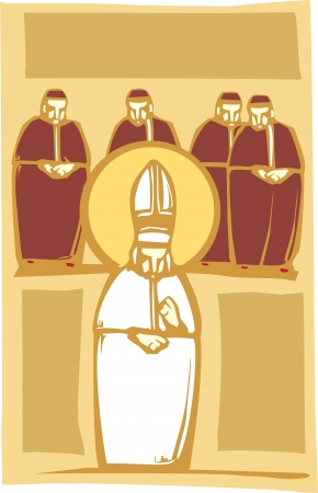Woodcut style image of the Catholic Pope with Church Cardinals
