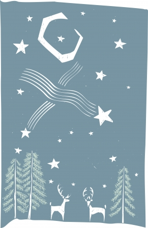 Woodcut style image of deer on a winter Stock Vector - 15354762