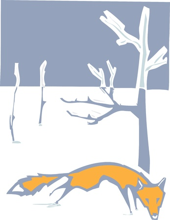 Woodcut style image of fox in the winter snow