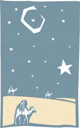 クリスマス三賢人の木版印刷スタイル画像  イラスト・ベクター素材