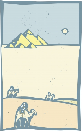 Woodcut style image of three camels in walking by Egyptian pyramids