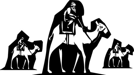 three men: woodcut style image of three men on camel back