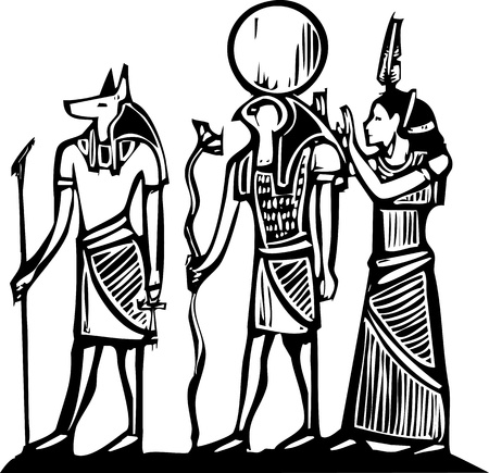 horus: Anubis y Horus jeroglífico egipcio en estilo del grabar en madera