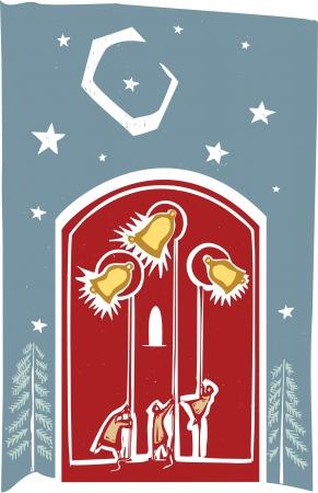 クリスマス教会の鐘夜空の下で