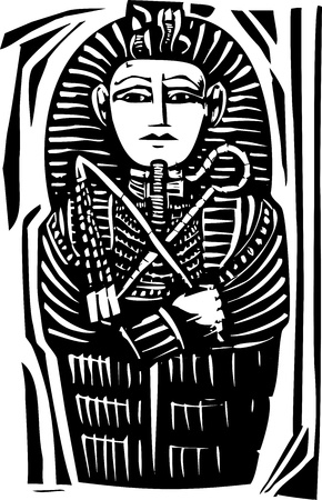 Woodcut Egyptian sarcophagus for a dead Pharaoh