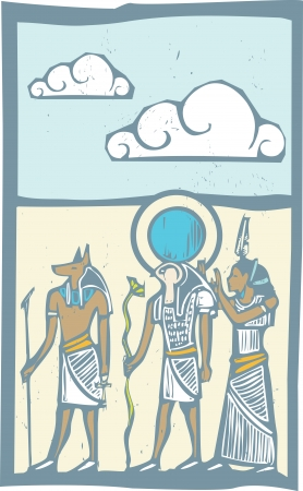 horus: Anubis and Horus with clouds Egyptian hieroglyph in woodcut style  Illustration