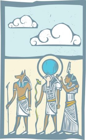 horus: Anubis y Horus con nubes jeroglífico egipcio en estilo del grabar en madera