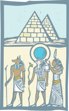 hieroglyph: Anubis and Horus with Pyramids Egyptian hieroglyph in woodcut style