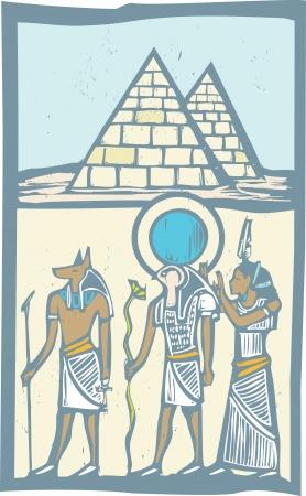 horus: Anubis y Horus jeroglífico con pirámides de Egipto en estilo del grabar en madera Vectores