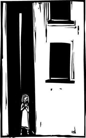 Slechte verlaten hol geslagen kind in een steegje