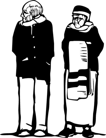 Expressionist woodcut style image of an old woman and old man