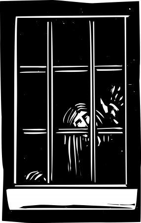 expressionist: Woodcut expressionist style image of a ghost tapping at a window