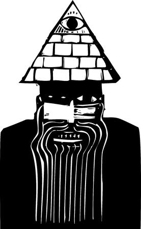 paranoia: Crazy looking man with a pyramid hat in woodcut style
