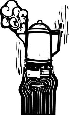 Crazy looking man with a coffee pot hat in woodcut style