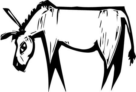 expressionist: Simple expressionist image of a donkey in woodcut style Illustration