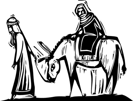 Christmas image with woodcut style Mary and Joseph with donkey  Vectores