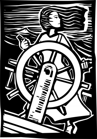 Girl in a dress pilots a ship at sea in a woodcut style image