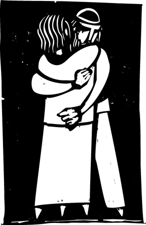 Jewish man and woman embracing rendered in an expressionist style