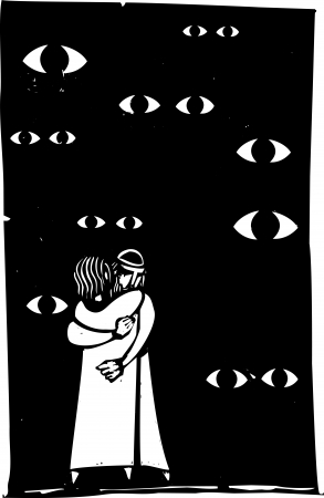 A middle eastern couple are watched embracing by many eyes  Ilustrace