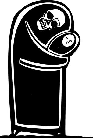 表現主義のスタイルの子供を抱きしめる死のシュラウドのイメージ  イラスト・ベクター素材
