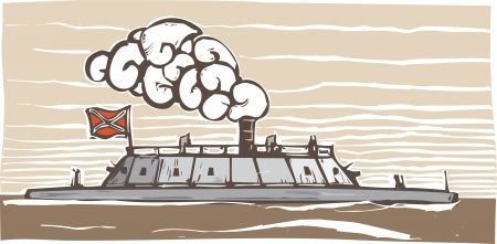 warship: Woodcut style image of the Confederate Civil War Ironclad warship Virginia
