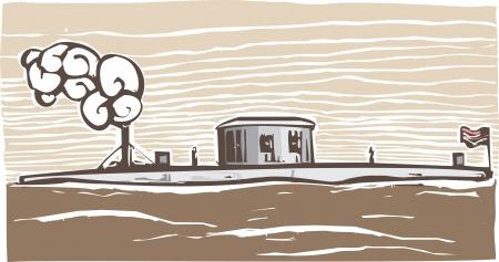 연합 남북 전쟁 철갑 군함 모니터의 목 판화 스타일 이미지
