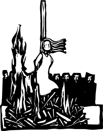 Expressionist woodcut style Woman,Saint or Witch being burned at the stake being watched by a crowd  Illustration