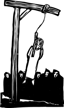 execution: Expressionist woodcut style Girl being executed by being hung from the gallows and watched by a crowd
