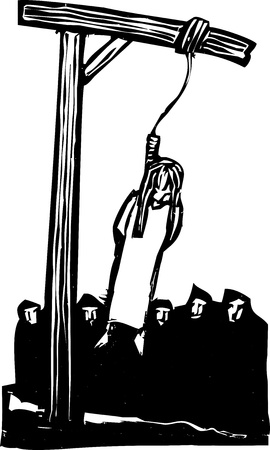 Expressionist woodcut style Girl being executed by being hung from the gallows and watched by a crowd