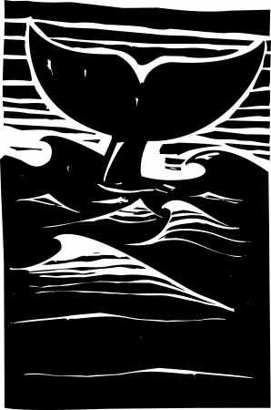 Expressionist woodcut style Whale tale or fluke rising above dark waves on the ocean  Vector