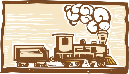 Woodcut style image of an early locomotive train