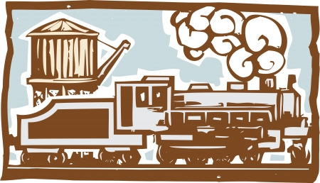 Woodcut style image of a locomotive train with a railroad water tower