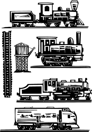 Woodcut style images of railroad trains, water towers and tracks