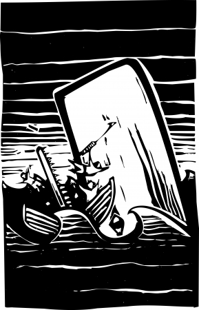 harpoon: Woodcut expressionist style image of a whale destroying a whaling boat