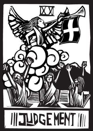 Woodcut expressionist style image for the Tarot card judgment  Çizim