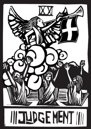 Xilografia immagine stile espressionista per il giudizio carta dei Tarocchi Archivio Fotografico - 16303659