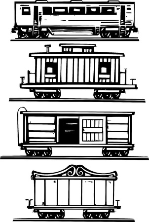 Woodcut style images of railroad passenger, circus, boxcars and caboose