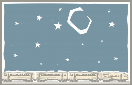 railway transportation: Woodcut style image poster image of a diesel locomotive train with a passenger cars under a night sky