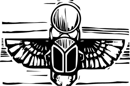 Woodcut style an Egyptian winged scarab beetle holding the sun  向量圖像