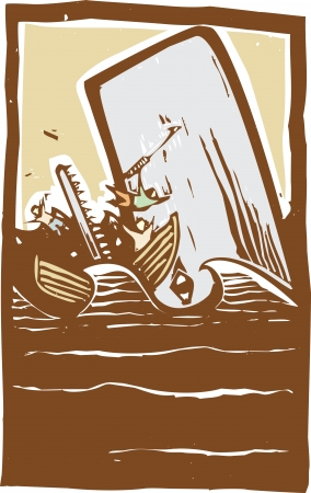 expressionist: Woodcut expressionist style image of a whale destroying a whaling boat