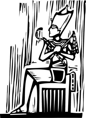 Woodcut style image a seated Egyptian Pharaoh  Illustration