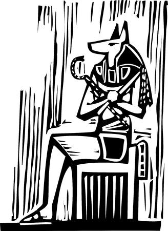 Woodcut style image a seated Egyptian God Anubis 版權商用圖片 - 16428244