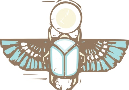 Woodcut style of an Egyptian winged scarab beetle holding the sun distressed in color  Çizim