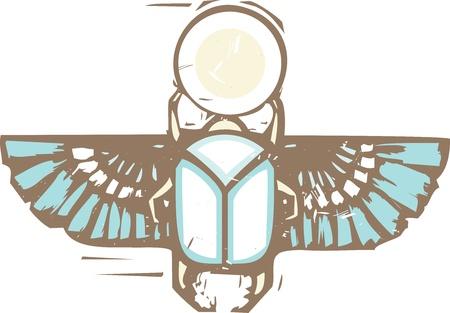 scarabeo: Xilografia stile di un scarabeo egiziano scarabeo alato che tiene il sole in difficolt� a colori