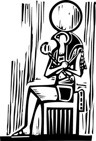Woodcut style image a seated Egyptian God Osiris  向量圖像