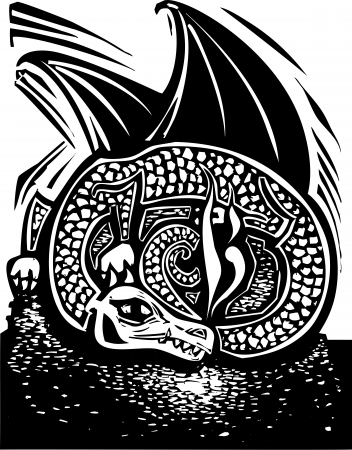 Rough woodcut image of a dragon sleeping on a horde of gold coins