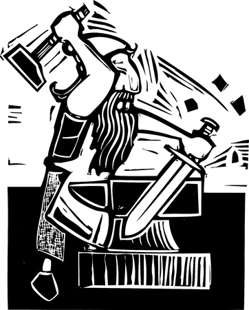 anvil: A mythical dwarf smith forging a sword on an anvil