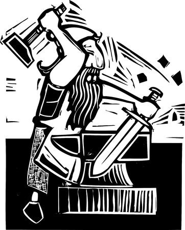 A mythical dwarf smith forging a sword on an anvil