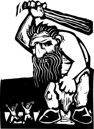 przerażający: Giant troll z wielkim klubie straszenie małych ludzi Ilustracja