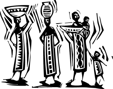 Traditional African textile design with women carrying baskets  Vectores